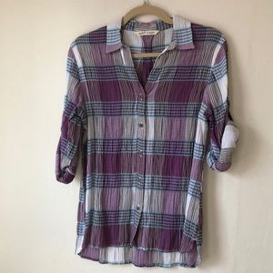 NWT Plaid Button up Long or Short Sleeve Shirt